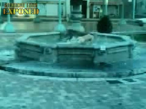 naked fountain bath