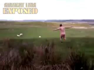 Morgan chasing sheep naked