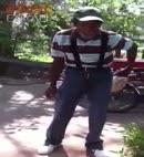 Dancing man pulls his dick out