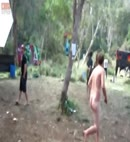 Naked dude running through the d floor