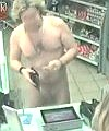 nude guy pumping gas