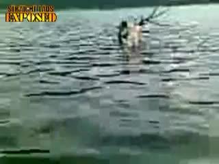 Naked in lake