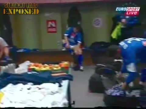 footballer in locker room