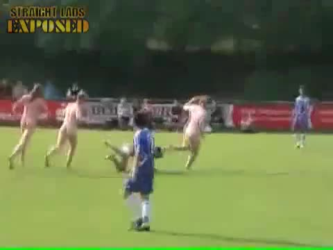 four lads streak during football game