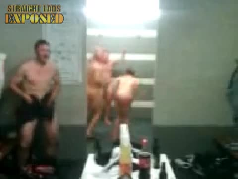 Rugby players' naked shower celebration