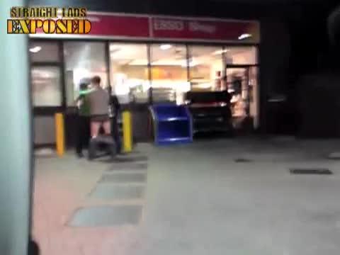 pants down at cash machine