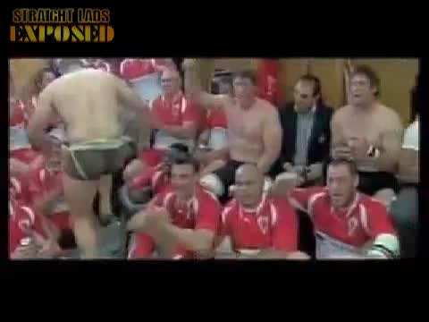 jockstrapped rugby players celebrating