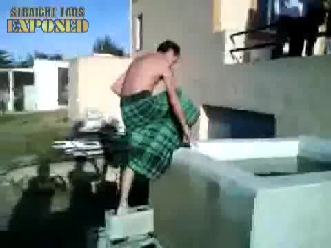 lad naked in water tank