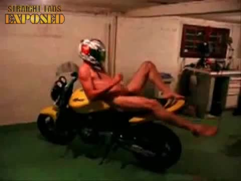 lad naked on motorbike