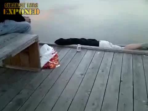 lad pisses off jetty