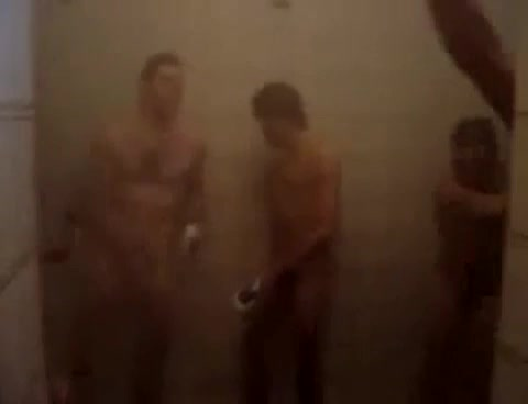 football players showering