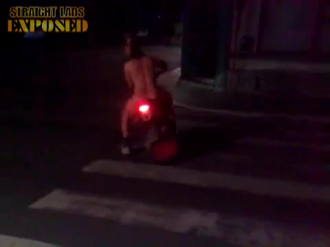 naked chav lad on motorbike