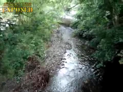 naked man running through forest
