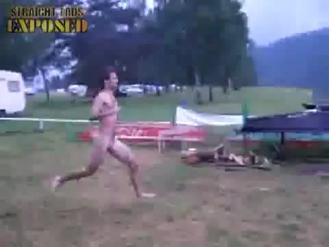 naked man runs through camp