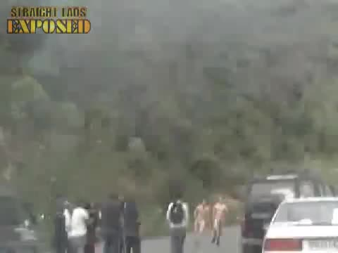 naked streaking lads in car park
