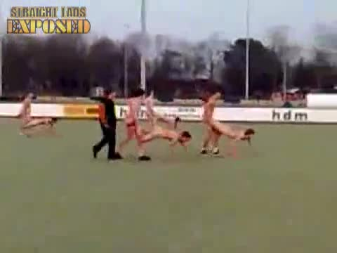 rugby player naked wheel barrow race