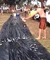 Naked Man Bowls Over