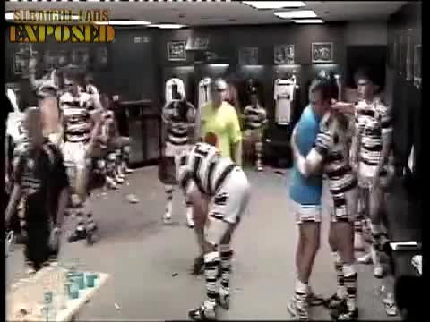 rugby players in locker room