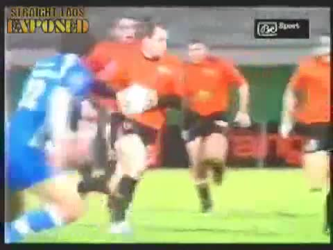 rugby player pops out of shorts