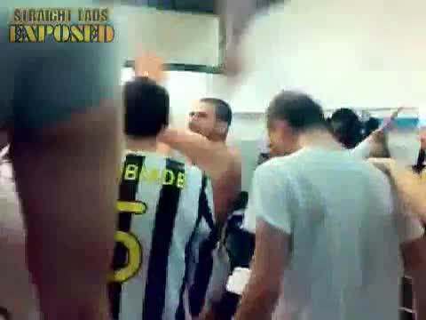 footballers dancing in locker room