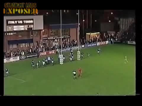 lad streaks on rugby pitch