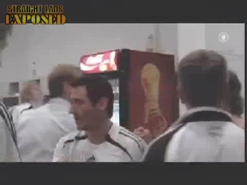 tatooed football player locker room