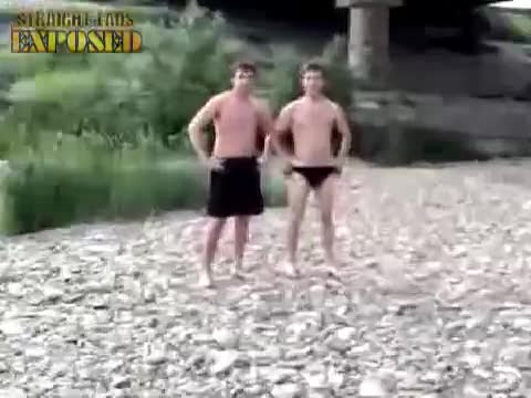 lads pull shorts down