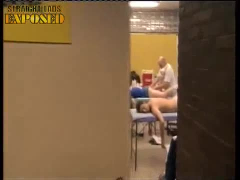 players getting massaged in locker room