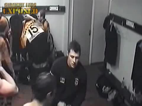 naked rugby player in locker room