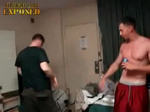 shirtless squaddie messing around