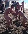Naked Men Wrestling At The Beach