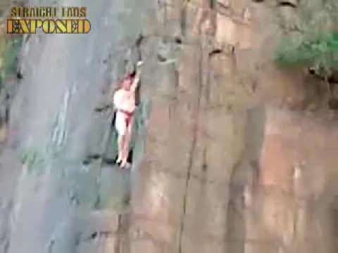 naked rock climbing lad