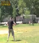 Naked guy steals football in park