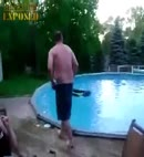 old man skinny dipping at pool party