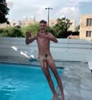 Naked Lad Jumps In The Pool