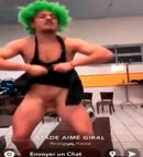 Green Haired Lad Flashes His Cock