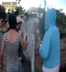 crossdressed lad gets stripped in public