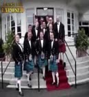 lads lift kilts at a wedding
