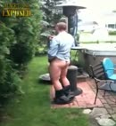 lad takes a piss garden