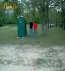 guy peeing freaks out