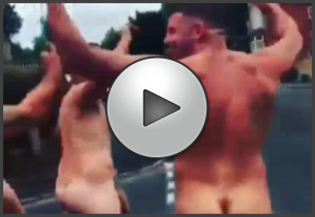 A naked rugby team streaking through the streets